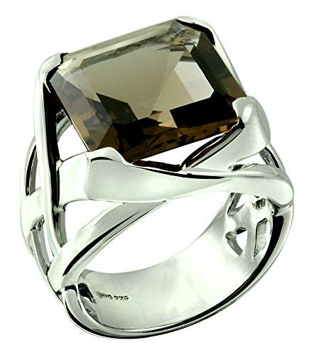 Smoky Ring Stackable Quartz - RB Gems Sterling Silver 925 Statement Ring Genuine Smoky Quartz 11.80 Carats with Rhodium-Plated Finish (9, Smoky-Quartz)