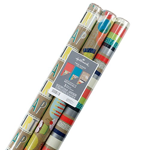Hallmark Reversible Wrapping Paper, Kraft Birthday (Pack of 3, 120 sq. ft. (Holiday Reversible Gift Wrap)