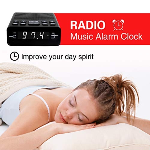 Alarm Clock Radio, LED Digital FM/AM Radio Alarm Clocks for Bedrooms Battery Backup (Black)