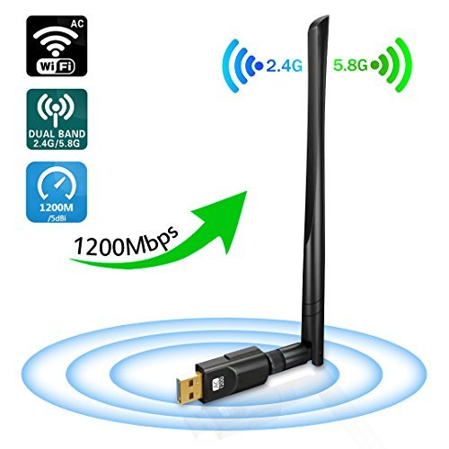 DORISO USB Wifi Adapter 1200Mbps, USB3.0 Wireless Network Adapter with 5dBi Antenna, 2.4GHz/300Mbps+5GHz/867Mbps 802.11AC Wireless adapter for Windows 10/8.1/8/7/XP/Vista, MAC OS 10.4-10.13