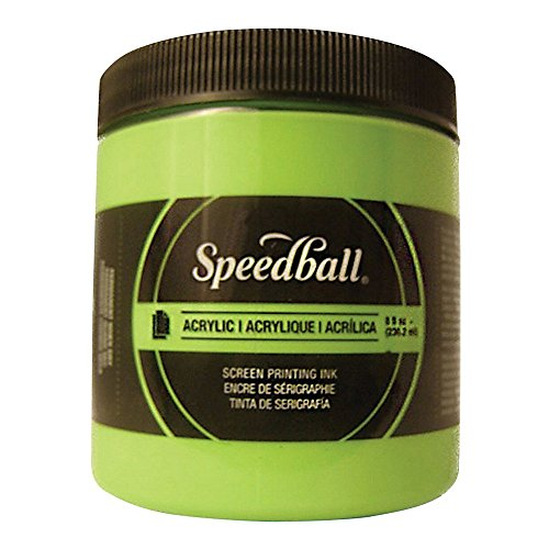 Speedball 1483703 Screen Printing Ink, 8 oz. Capacity, Acrylic, Fluorescent Lime Green