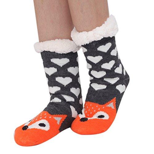 Non Cozy Soft Socks Fox a Womens Cute Slip Cartoon Marlong Animals Warm Winter 01 Indoor Slipper fuzzy 8qfwBU0