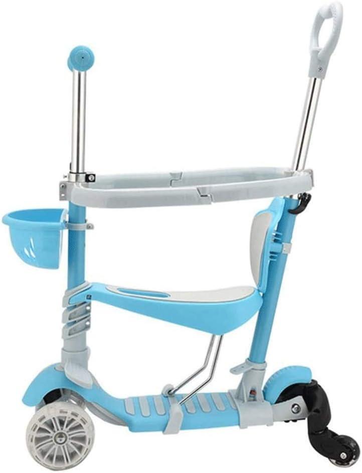 ZQY 5-en-1 Niños Kick Scooter, Walker Ajustable Manillar Triciclo Que se Puede Empujar y deslizable del balanceador Infantiles for niños y niñas de 2-6 (Color : B)
