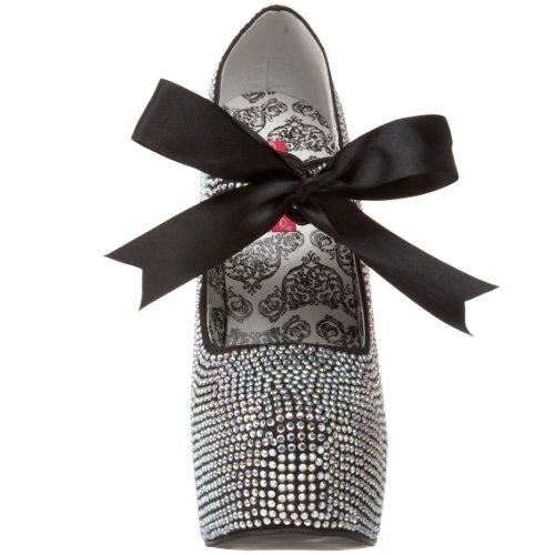 Bordello - TEEZE-04R, Scarpe col tacco da donna, nero(iridescent rhinestones), 40