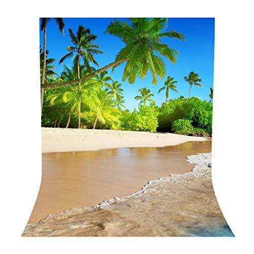 LYLYCTY 5x7ft Beach Themed Party Backdrop Sea Waves with Palm Trees Background Summer Backdrops for Wedding Birthday Party Photography Props LY032 -