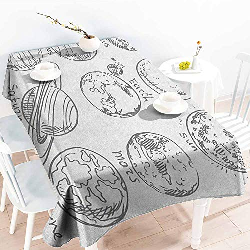 familytaste Doodle,Table Cloth Printed Planets of Solar System