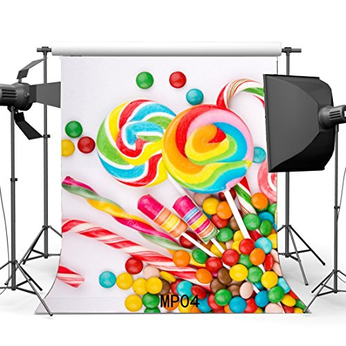 Theme Backdrop (5x7ft candy buffet bar shop theme backdrop High-grade portrait cloth Computer printed party baby shower Birthday Backgrounds lv-1018)