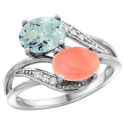 14K White Gold Diamond Aquamarine & Coral 2-stone Ring Oval 8x6mm, size 7.5
