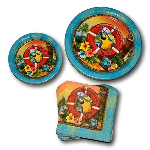 amscan Summer Hawaiian Luau Tropical Beach Margaritaville Paper Plates and Napkins Party Supply Bundle - Picnic Tableware Set Includes Dinner Plates - Dessert Plates and Parrot Napkins (Parrot Head Paper)