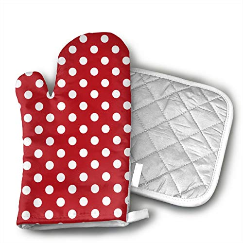 Red White Polka Dot Oven Mitts and Pot Holders Set with Polyester Cotton Non-Slip Grip, Heat Resistant, Oven Gloves for BBQ Cooking Baking, ()