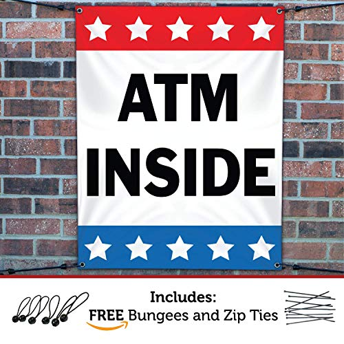 (HALF PRICE BANNERS   ATM Inside Vinyl Banner -Heavy Duty Outdoor 3X2 Foot -Stars   Includes Ball Bungees & Zip Ties   Easy Hang Sign-Made in USA)