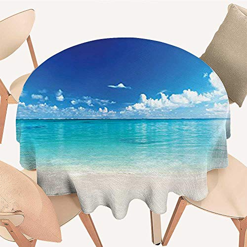 Luxury Round Table Cloth for Home use Natural Coastal View Sand sea Beach Caribbean Sea Picture Accessories Blue Turq for Buffet Table, Holiday Dinner, 51 INCH Round - Turq Cross