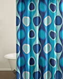 City Scene Shower Curtain, Retro Radar Blue