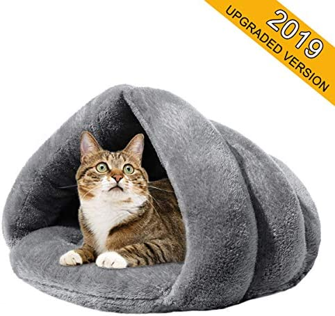 Mojonnie Soft Fleece Self-Warming Cat Bed Warm Sleeping Bed for Cats Winter Pets Puppy Indoor Pet Triangle Nest