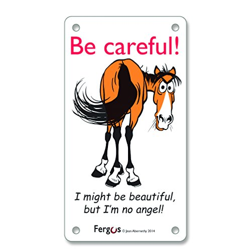 (Be Careful - Im No Angel Stall-Front Fergus Barn & Stable Warning Sign)