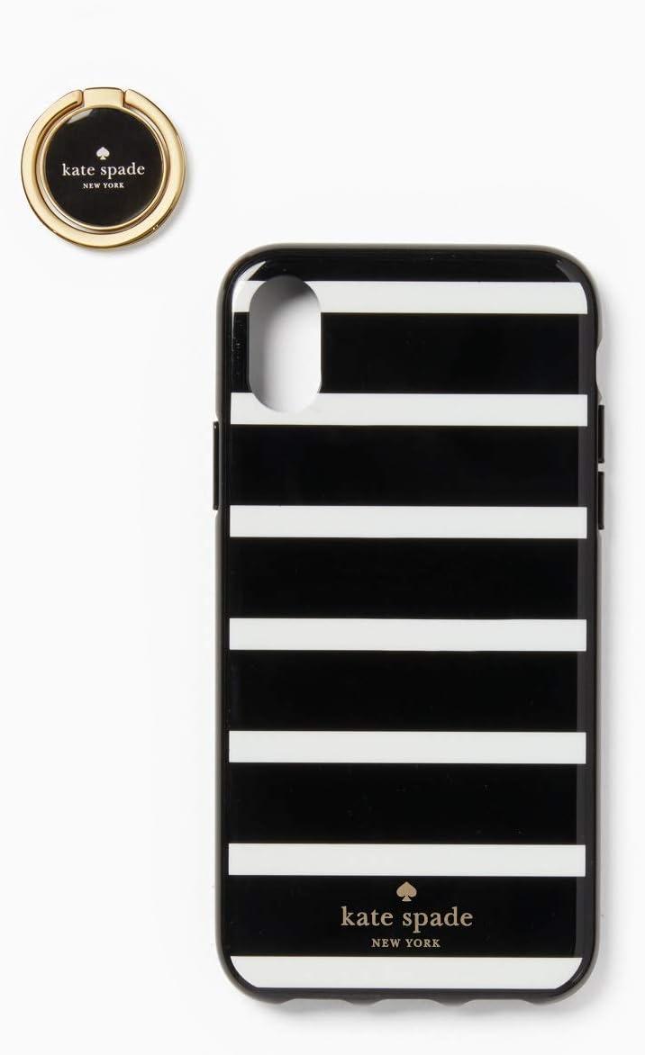 Kate Spade New York Ring & Stripe Resin iPhone Xs/iPhone X Case, Black Multi
