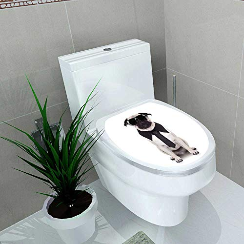 Home Decoration Pug Dog Looking so Cool with Fancy Sunglasses Toilet Cover Stickers W14 x L16 -