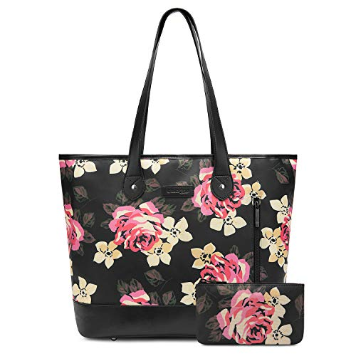 UtoteBag 15.6 Inch Laptop Tote Bag For Womens Floral Pattern Large Tote Bag Lightweight Shoulder Bag Multi-Pocket Nylon Business Work Office Briefcase for Computer/MacBook/Ultrabook (Black ()