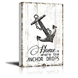 wall26 Canvas Wall Art - Home is Where the Anchor Drops Quotes on Wood Style Background - Gallery Wrap Modern Home Decor | Ready to Hang - 16x24 inches