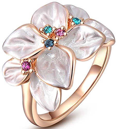 TEMEGO Vintage Rose Gold Flower Ring for Women,White Enamel Colorful Crystal Petals Floral Cocktail Ring