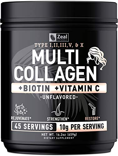Premium Collagen Peptides Powder (Ⅰ,Ⅱ,Ⅲ,Ⅴ,Ⅹ) Multi Collagen Protein + Hyaluronic Acid + Vitamin C + Biotin - #1 Collagen Powder for Women Hair Skin and Nails - Marine, Bovine, Chicken & Eggshell