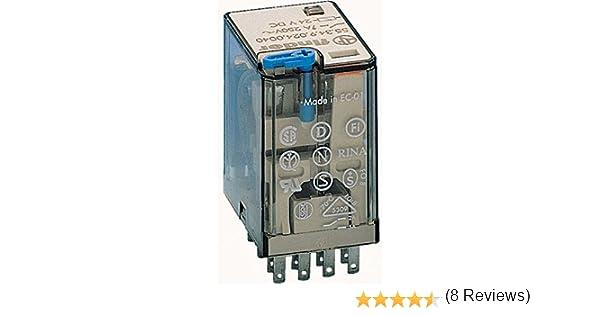 - 24 V con pulsador de prueba e indicador mec/ánico21 x 28 x 38 cm AgNi transparente Rel/é industrial enchufable en z/ócalo 4 contactos 7 A CA 50//60 Hz Finder 553480240040
