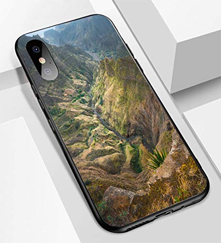 iPhone X/XS Ultra-Thin Glass Back Phone case,Breathtaking View from Delgadinho Mountain Ridge Santo Antao Cape Verde Soft and Easy to Protect The Protective case ()