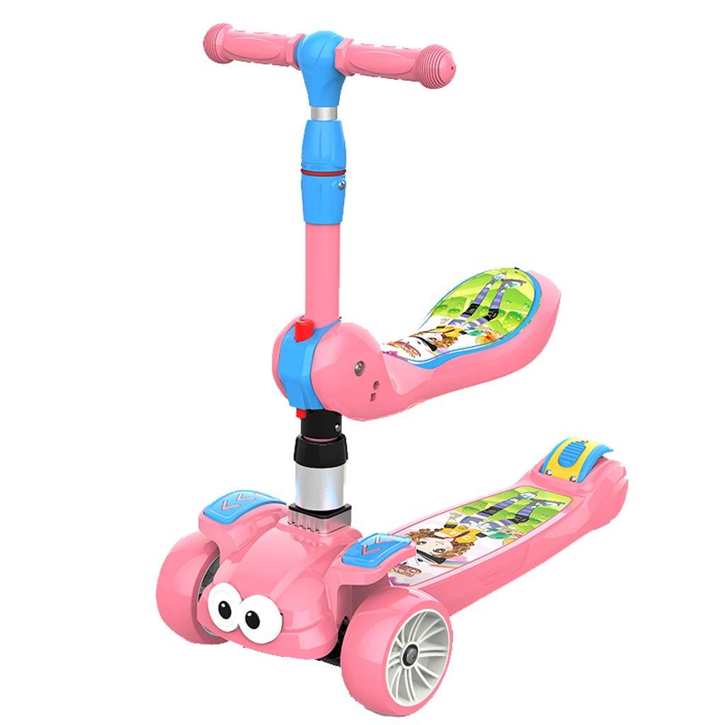 Zhijie-chezi Scooter Plegable Scooter multifunción 3-en-1 para niños Rueda Intermitente de 3 Ruedas Trolley Scooter para niños de 2-12 años (Color : Pink)