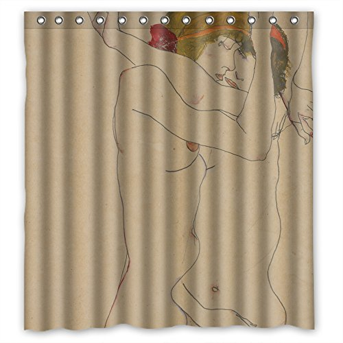(GIOOD Polyester Bath Curtains Of Egon Schiele Art Painting For Artwork Wife Mother Kids Girl. Easy Care Width X Height / 72 X 72 Inches / W H 180 By 180 Cm(fabric))
