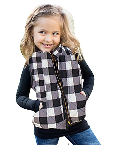 Girls Puffer Lightweight Plaid Quilted Vest Winter Outwear Padded Gilet Jacket ()