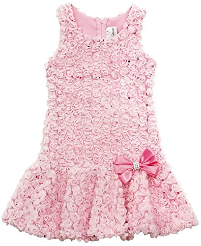 Rare Editions Little Girls' Pink Bonaz Rosettes Sequins Drop Waist Dress, ()