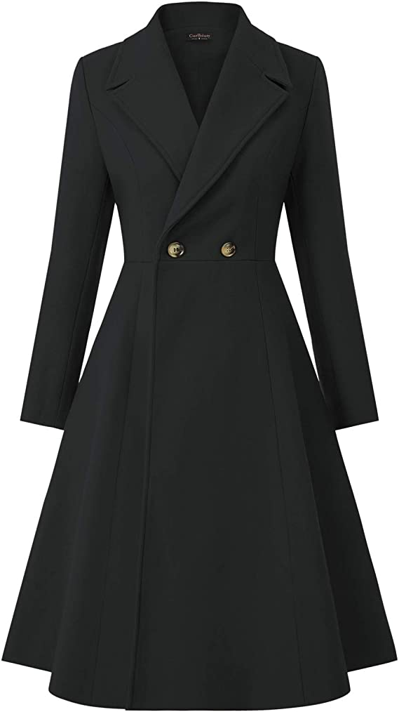 1950s Jackets, Coats, Bolero | Swing, Pin Up, Rockabilly CURLBIUTY Women Swing Double Breasted Wool Pea Coat Winter Long Overcoat Jacket $69.99 AT vintagedancer.com