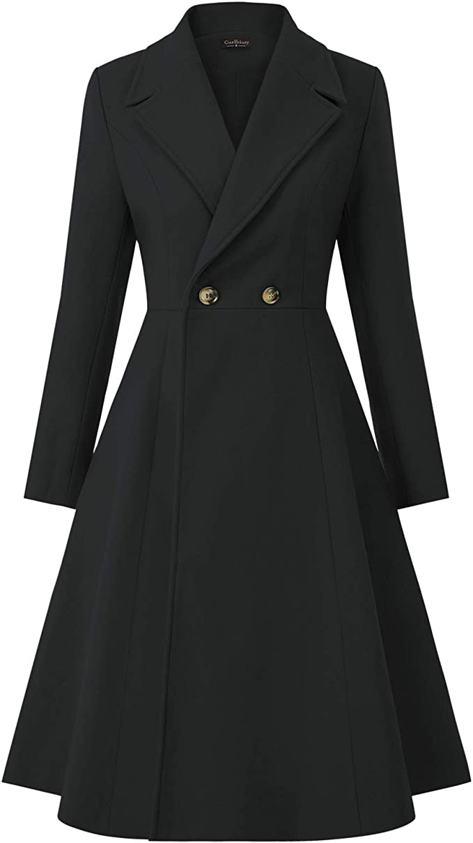 1950s Coats and Jackets History CURLBIUTY Women Swing Double Breasted Wool Pea Coat Winter Long Overcoat Jacket  AT vintagedancer.com