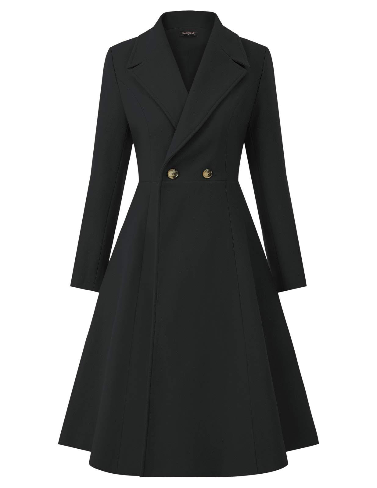CURLBIUTY Women Swing Double Breasted Wool Pea Coat Winter Long Overcoat Jacket
