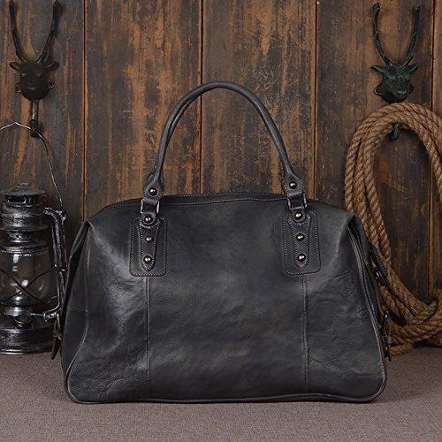 旅行ダッフルバッグ第一層野菜なめし革旅行バッグ男性と女性の旅行バッグ旅行バッグショルダーバッグメッセンジャーバッグ 旅行用ハンドバッグ (色 : Gray blue)  Gray blue B07QK4GZNJ