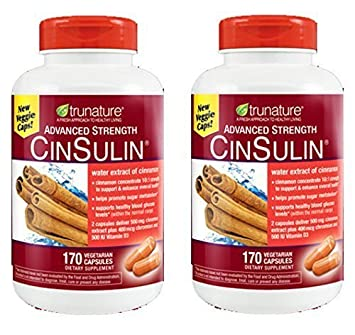 TruNature Advanced Strength CinSulin with Cinnamon Concentrate and Chromium Picolinate – 2 Bottles, 170 Capsules Each by TruNature