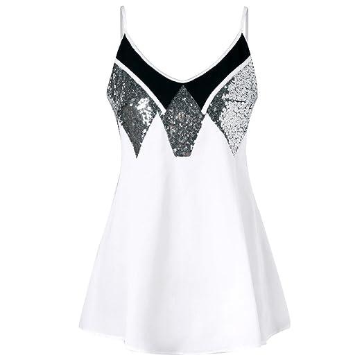 c813380fc496 PHOTNO Women Casual Sling Swing Dress Sequins Loose Sleeveless V Neck  Spaghetti Strap Mini Dresses (