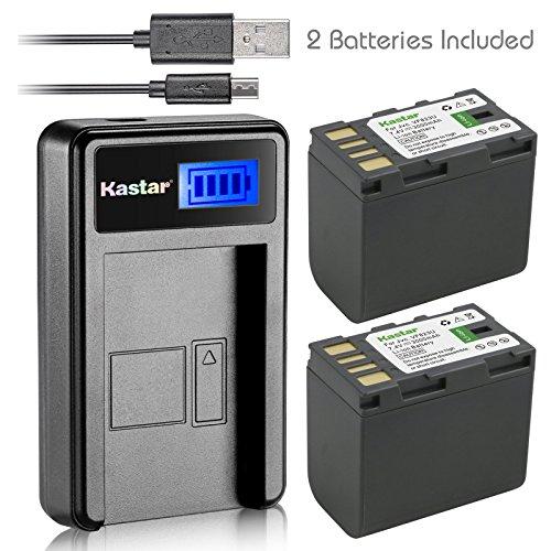 Kastar Battery (X2) & LCD Slim USB Charger for JVC BN-VF823 BNVF823 and Everio GS-TD1 GY-HM70U HM100U HM150U HMZ1U MG230 MG360 MG365 MG430 MG435 MG465 MG555 MG730 MS120 MS130 HD3 HM1 HM200 HM400 X900r
