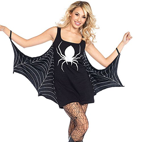 Mini Print Costumes (Papaya Wear Women Halloween Spider Print Costume Mini Dresses Black L)