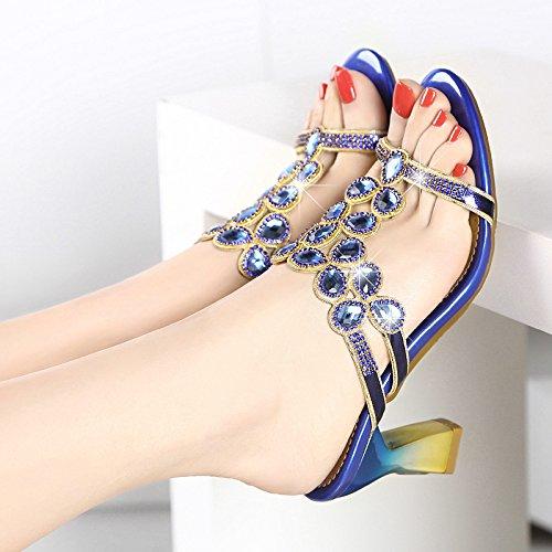 Pantoufles Diamant Diamond Khskx Avec Heeled Blue Des Summer Sandales Un D'épais high 4qagCwRaE