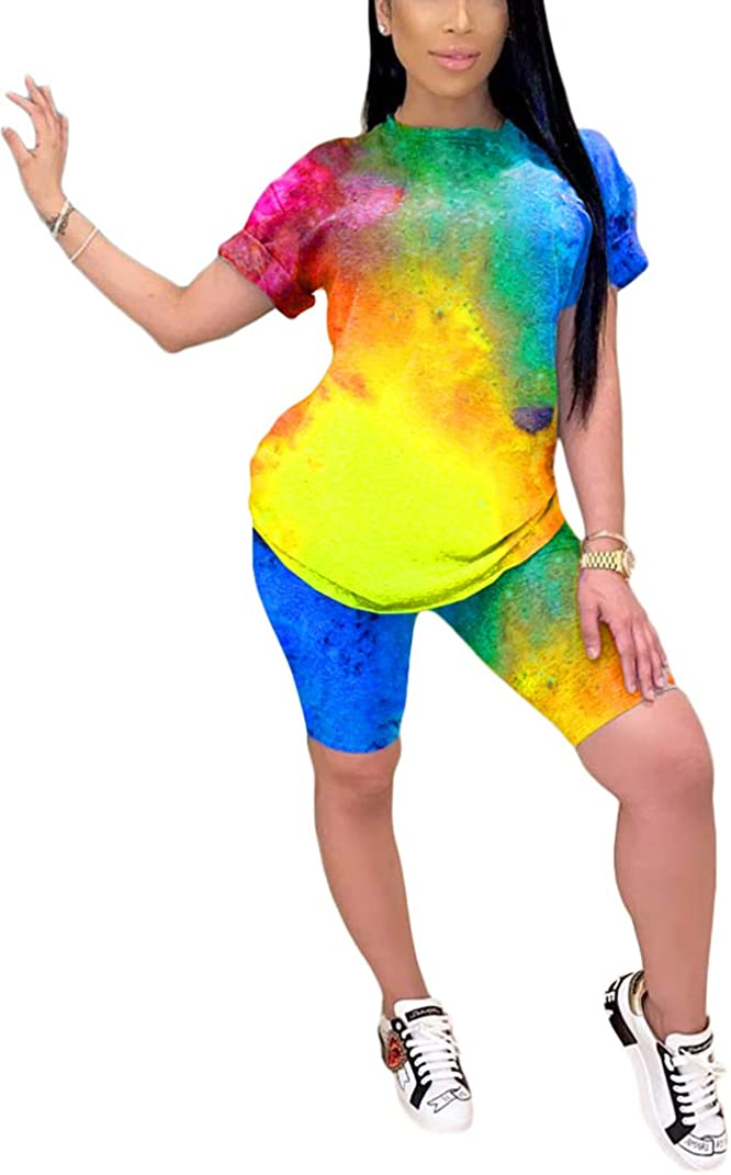 Women 2 Piece Tracksuit Clothes Tie Dye Printed Short Sleeve T-Shirt Tops Bodycon Shorts Pants Summer Outfits Set