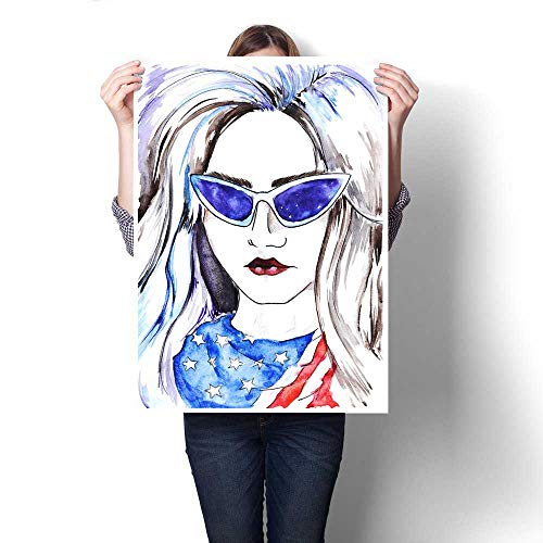 (Anshesix Canvas Wall Art for Bedroom Home Decorations Watercolor Fashion Girl in Glasses and Scarf for Home Decoration No Frame 32