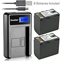 Kastar Battery (X2) & LCD Slim USB Charger for JVC BN-VF823 BNVF823 and Everio GS-TD1 GY-HM70U HM100U HM150U HMZ1U MG230 MG360 MG365 MG430 MG435 MG465 MG555 MG730 MS120 MS130 HD3 HM1 HM200 HM400 X900r