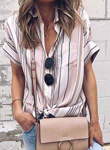 Dokotoo Womens Blouses Summer Ladies Classic Stripes Print Button Down Short Sleeve V Neck Blouses Casual Fashion 2019 Tops Tee Shirts for Womens Pink Small