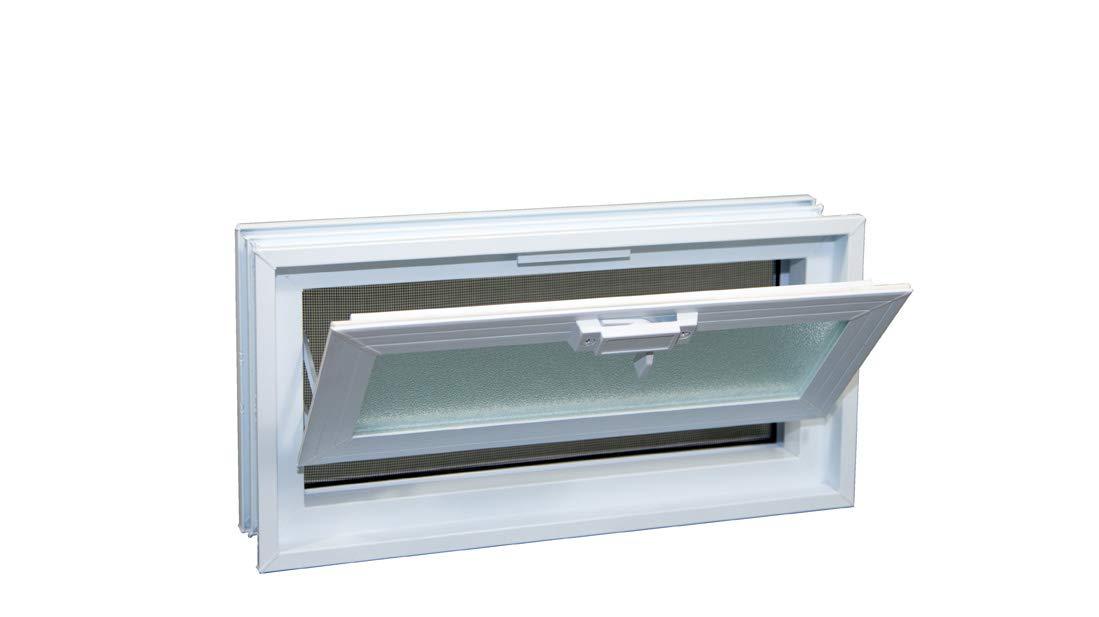 Glass Block Hopper Vent - 16x8 Vinyl Hopper Vent (White) by Glass Block Factory