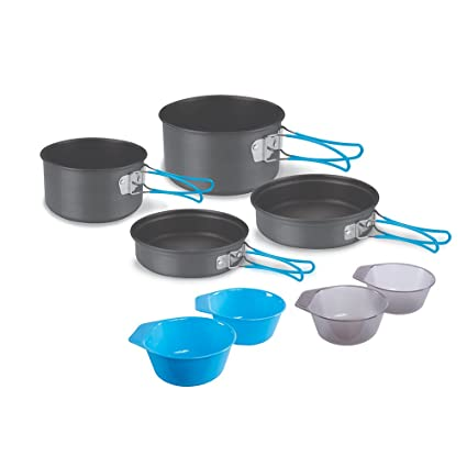 056d5b9aa Amazon.com : Stansport Hard Anodized Aluminum Cook Set-4 Person : Camping Cooking  Utensils : Sports & Outdoors