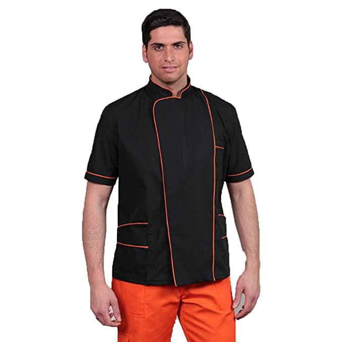 Bata chaqueta para peluquero, coiffeur, estetista, para hombre. Color naranja. Talla M/48: Amazon.es: Hogar