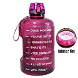 8. BuildLife Gallon Motivational Water Bottle Wide Mouth with Time Marker/Flip Top Leakproof Lid/One Click Open/Large BPA Free Capacity for Fitness Goals and Outdoor(Bright Purple, 1 Gallon)