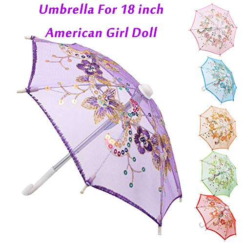 WensLTD Hotsale! Flower Umbrella Accessories for 18 inch American Girl Dolls Handmade Gift (Blue)]()