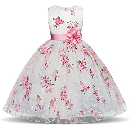 TTYAOVO Girls Flower Printing Chiffon Princess Wedding Party Holiday Dresses Size 3-4 Years Pink